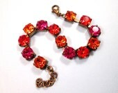 Rhinestone Bracelet, Orange Red Violet, Swarovski Crystal Rhinestone and Brass Beaded Bracelet, FREE Shipping U.S.