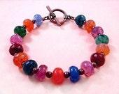 Jewel Tone Crackle Quartz Bracelet, Colorful and Copper Beaded Bracelet, FREE Shipping U.S.