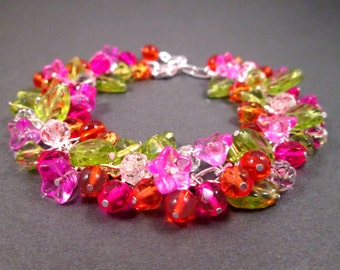Flower Charm Bracelet, Bright Bouquet, Colorful and Silver Beaded Bracelet, FREE Shipping U.S.