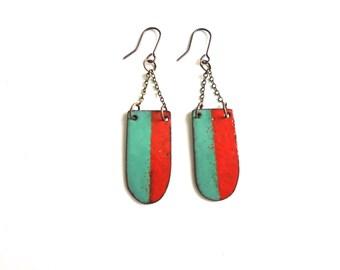 Red and Aqua Enamel Dangle Earrings