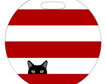 Luggage Tag - Sneaky Kitty Cat - 2.5 inch or 4 Inch Round Large Plastic Bag Tag