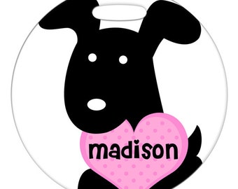 Luggage Tag - Black Dog with Custom Name Heart - Round Plastic Bag ID Tag