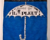 Vintage Novelty Handkerchief - Umbrella and Words in French