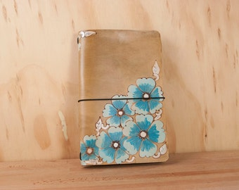 Midori Notebook - Leather Journal - Moleskine - Belle pattern with wild roses in turquoise and antique brown