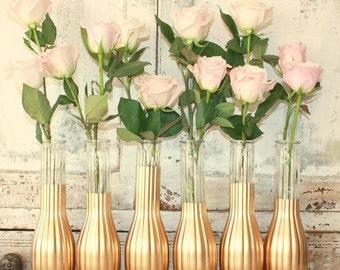 Gold vases, gold wedding decor,  set of 6 gold dipped bud vases, gold painted budvase, bright gold wedding table decor, bridal shower decor