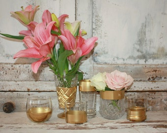 Gold wedding decor, set of 6 Gold dipped vintage vases and votive candle holders, table decorations, rose gold, glitter, upcycled