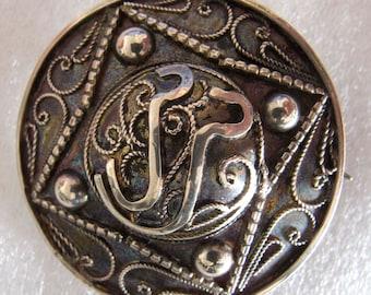 Antique Victorian C Clasp Silver Brooch - 42mm