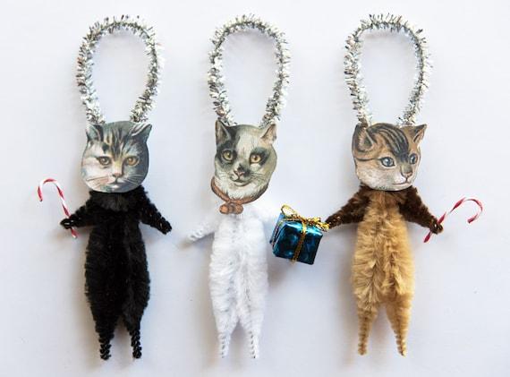 Holiday ornaments cat christmas ornaments christmas tree for Cat christmas ornaments craft
