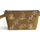 Wedge Bag, Shawl Project Size Knitting Bag, Imported Japanese fabric, tigers on brown
