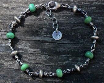 Green Mojave turquoise sterling silver beaded bracelet