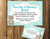 Printable Turquoise Bear Baby Shower How Big is Mommy's Belly Game - Instant Download