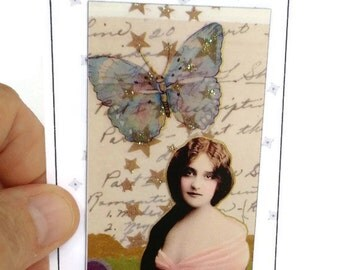 Collage Art Magnet DREAMING GIRL Blue Butterfly