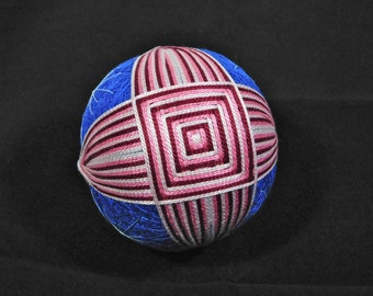 Temari Ball Ornament Cranberry and Pink on Blue Home Decor Wedding Gift