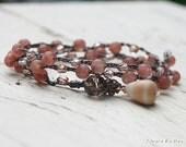 Boho Bracelet, Wrap Bracelet, Bohemian Wrap Bracelet, Crocheted Bracelet, Crocheted Wrap Bracelet, Beachy Bracelet, Neutral Color, Large