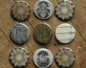 Assorted Etchings - set of 3 pinback art buttons