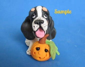 Whimsical Basset Hound dog with jack-o-lantern ORIGINAL polymer clay OOAK sculpture by Sally's Bits of Clay
