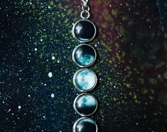 Moon Phase Necklace - Lunar Pendant - Outer Space Galaxy Jewelry - Moonphase, New Age, Luna, Celestial, Science Gift, Space Wedding, Unique