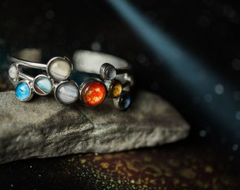 Solar System Bracelet - Silver Tone Adjustable Cuff - Fashion Statement, Science Gift, Geek Chic, Planets, Jewellery, Galaxy Jewelry, Cosmic
