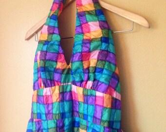 Vtg Rainbow Watercolor Block Quilt Halter Dress
