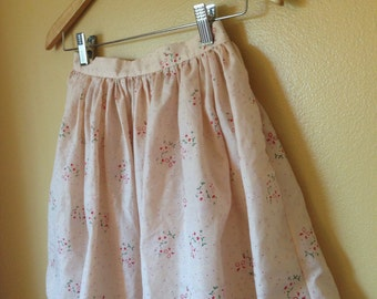Vtg Pale Pink Antique Cotton Puff Polka Dot and floral Skirt