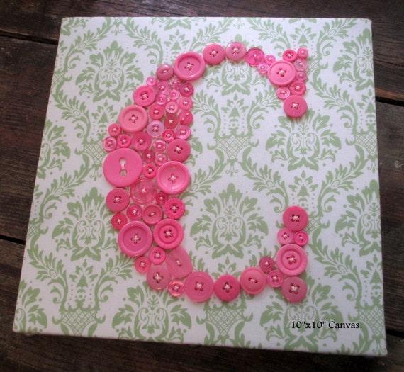 Hot Pink Button Letter, Nursery Wall Art, Personalized Kids Wall Art, Button Art, Custom Letter Art, Girl Room Decor, Nursery Art Canvas