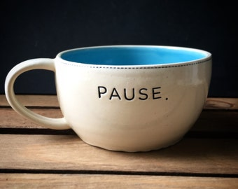 Pause soup mug in blue, and white - READY TO SHIP