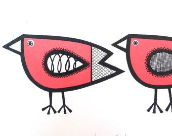 A4 Screen Printed Scandi Love Birds Print by Jane Foster in Pink