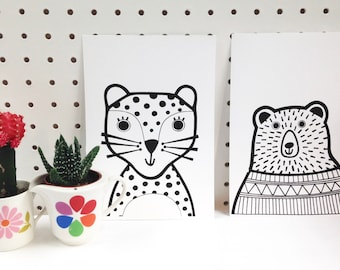 Pair of Mini Happy Bear and Spotty Leopard Screen Prints by Jane Foster - signed  - limited edition Nursery Wall Art