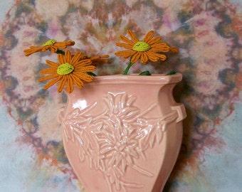 Vintage McCoy Pottery Vase Peachy Pink Shabby Cottage Floral Design