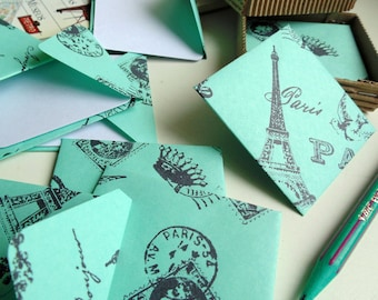 Green Paris Cute Mini Stationery Set, Square Envelopes, Gifts Tags Under 15, Paper, White Blank Note Cards, Thank You, I Love You, Greetings