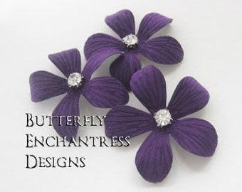 Purple Wedding Hair Piece, Bridal Hair Flower, Woodland Hair Accessories - 3 Purple Caribbean Plumeria Flower Hair Pins - Rhinestone Centers