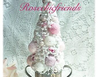 White BOTTLE Brush Tree Vintage Silver Pink Mercury Glass ecs schteam scvfteam sct
