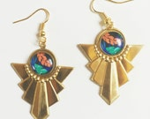 Art Deco Brass Earrings with Palm Leaf Print Cabochon