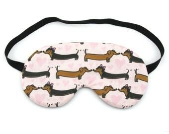 Dachshund Dogs with Love Hearts Sleep Eye Mask, Sleeping Mask, Travel Mask, Eye Mask, Sleep Mask, Travel Gift