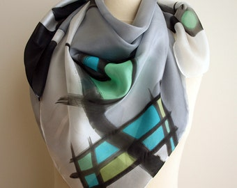 Silk scarf Hand painted - Hand Painted square Silk Scarf -square scarf-Woman scarf- Giveaways -Gifts for her - 35x35in. (90x90cm)