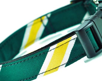 Striped Necktie Dog Collar - Adjustable Dog Collar - Green And Yellow Striped Dog Collar - For M-L Dogs