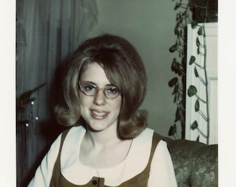 Vintage photo 1969 Cute Ratted Hair Cat eye Glasses Pretty Woman Orange Outfit
