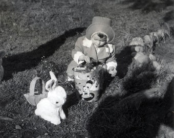 vintage photo 1950s Little Girl w EAster Basket Bunny Toy Sand Pail