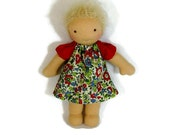 7 to 8 inch Waldorf Doll Dress, old fashioned floral doll dress, holiday doll clothing, tiny doll dress, optional bloomers