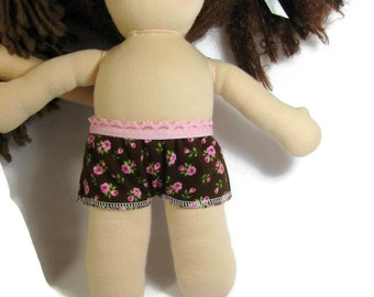 Doll underwear, two pairs for 10 to 12 inch Waldorf Doll, Boy Style Doll Panty, doll panties homemade in USA, brown pink doll panties
