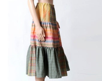 Long tiered skirt, Striped colorful bohemian skirt, Womens green, orange pink cotton skirt, Long patterned skirt, Womens skirts, Size S