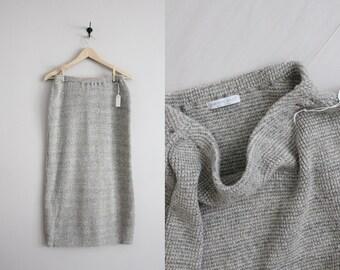gray knit skirt / sweater skirt / stretchy skirt