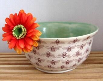 Ceramic Bowl with Bees Motif - Handmade Stoneware Pottery - Ready to Ship