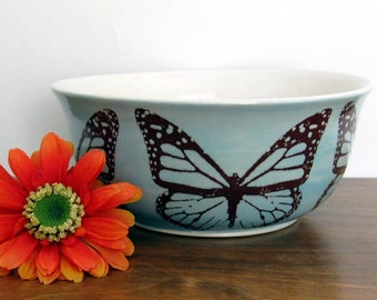 Stoneware Bowl - Center Piece Bowl - Monarch Butterfly - Wheel Thrown Pottery - Stoneware - Ready to Ship