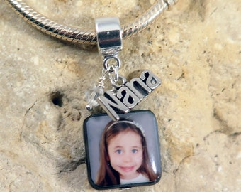 NEW - Custom Photo Mother of Pearl Charm with Nana Charm and Birthstone for European Charm Bracelets