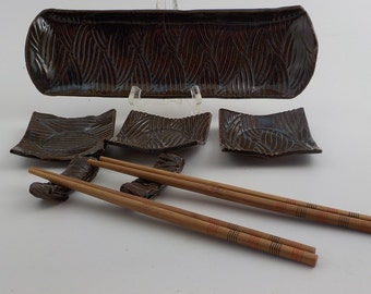 Ceramic Sushi Set - Stoneware Serving Tray - Handmade Condiment Dishes and Chopstick Rests - Ready to Ship - Textured Marble Blue Brown s449
