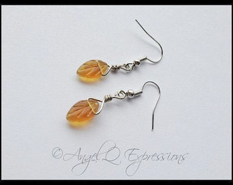 Autumnal Equinox Fallen Leaves Wire-Wrapped Earrings