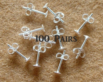 925 Sterling Silver PAD Earring Post and Earring Backs (4 mm.) - 100 Pairs (200 Pieces)