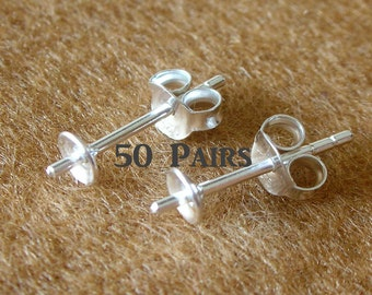 925 Sterling Silver 4 MM. PAD Earring Post with PEG and Earring Backs - 50 Pairs (100 Pieces)