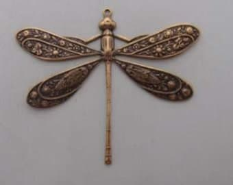 Large Victorian Dragonfly Charm jewelry finding antique gold Pendant